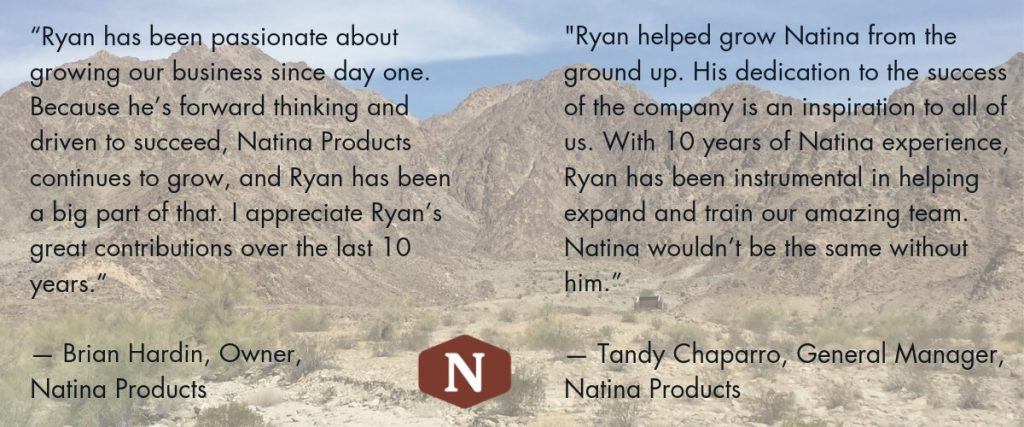 Ryan Celebrates 10 Years With Natina Natina Products